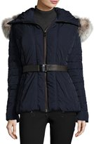 Gorski Hooded Quilted Jacket with Fox Fur Collar, Navy