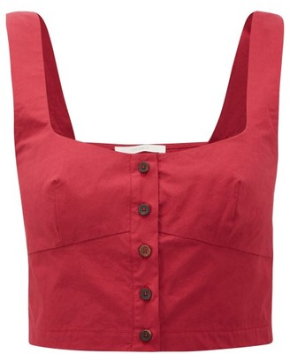 Araks Tilly Square-neck Cotton Cropped Top - Womens - Burgundy