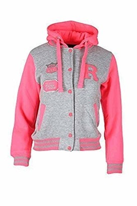 Celeb Look L85 Celebmodelook New Womens Fleece Baseball Jacket Ladies Hooded Plus Size TOP 08-24 (Fluorescent Pink and Grey XL)