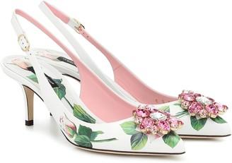 Dolce & Gabbana Floral leather slingback pumps