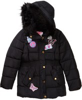 KensieGirl Hooded Bubble Jacket with Faux Fur Trim & Patches (Big Girls)