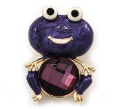 Avalaya Deep Purple Enamel 'Frog' Brooch In Gold Plated Metal - 4.5cm Length