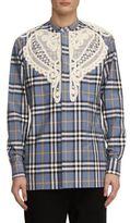 Burberry Soutache Lace Applique Plaid Shirt