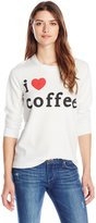 Chaser Women's I Love Coffee' Crew Neck Long Sleeve Panel Tee