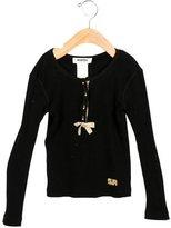 Rykiel Enfant Girls' Bow-Accented Rib Knit Top