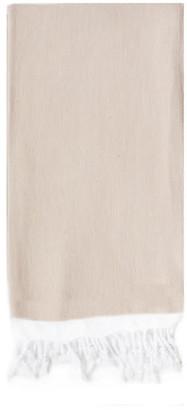 Turkish T Basic Single-Stripe Towel - Beige