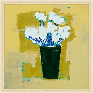 One Kings Lane Ochre Abstract Flower Vase Art