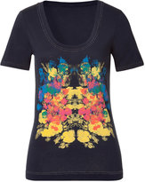Marc by Marc Jacobs Ink Blue Multicolor Flower Printed T-Shirt