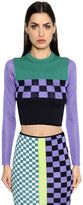 Versace Cotton Blend Jacquard Knit Cropped Top