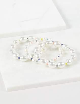Lane Bryant 3-Row Beaded Pearlescent Stretch Bracelets