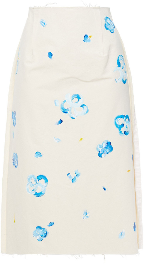 Thumbnail for your product : Marni Painted Cotton-blend Skirt