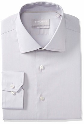 Hickey Freeman Silver Men's Solid Broadcloth Contemporary Fit Long Sleeve Dress Shirt