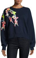 Jason Wu Holiday Floral Wool Sweatshirt, Navy