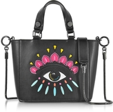Kenzo Black Leather Small Eye Tote w/Shoulder Strap