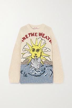 Stella McCartney Embroidered Intarsia Organic Cotton And Linen-blend Sweater - Cream