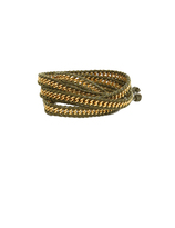 Chan Luu Gold Plated Chain and Olive Green Leather Wrap Bracelet