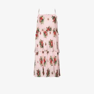 Ganni Cher pleated printed midi dress