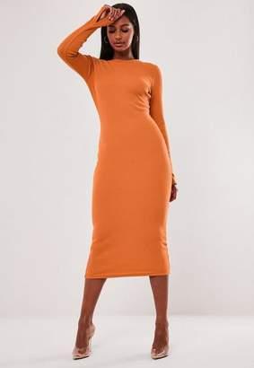 Missguided Petite Orange Ribbed Long Sleeve Midi Dress