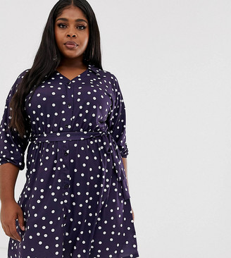 Pink Clove shirt dress with balloon sleeves and tie waist in polka dot print