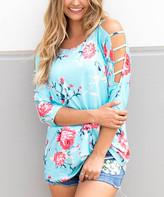 Tickled Teal Women's Tunics Blue - Blue Floral Shoulder-Cutout Tee - Women