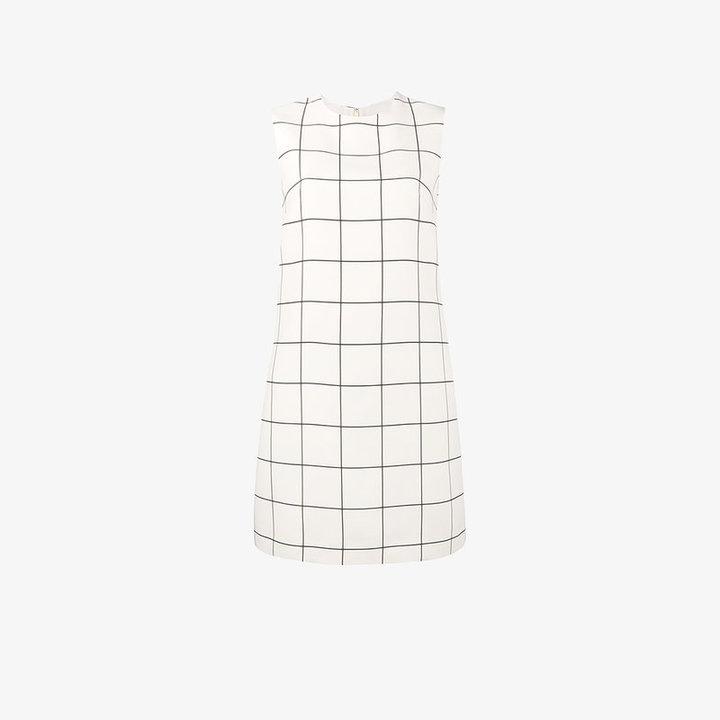 Valentino sleeveless windowpane print dress