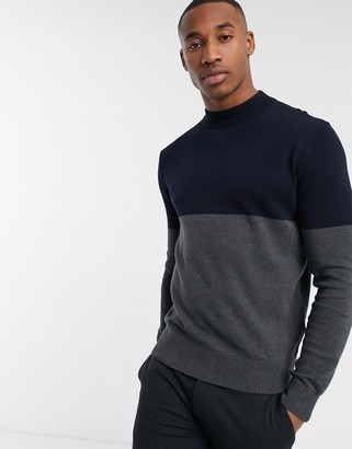 French Connection organic cotton color block turtleneck in navy