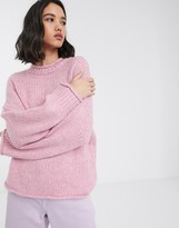 Only high neck knitted sweater in pink
