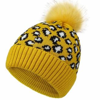 XRDSS Womens Winter Hats Ski Knit Beanie Warm Soft Faux Fur Pom Pom Hat (Yellow)