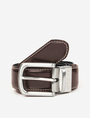 Dents Reversible constrast topstitch leather belt