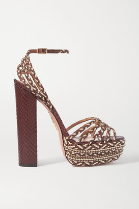 Aquazzura Cozumel 140 Braided Leather Platform Sandals - Tan