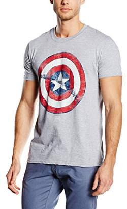 Marvel Men's Captain America Shield Short Sleeve T-Shirt, Grey
