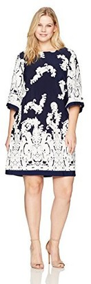Sandra Darren Women's 1 Pc Plus Size 3/4 Bell Sleeve Jersey Puff Shift Dress