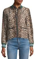 Veronica Beard Anya Leopard-Print Anorak Jacket with Striped Rib-Knit Trim