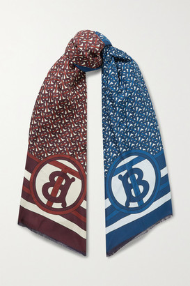 Burberry Reversible Fringed Printed Mulberry Silk-twill Scarf - Blue