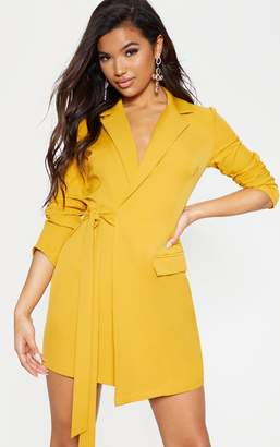 PrettyLittleThing Mustard Tie Detail Blazer Dress
