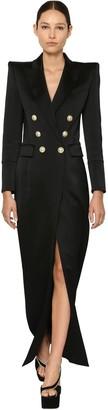 Balmain Buttoned Satin Jacket Dress