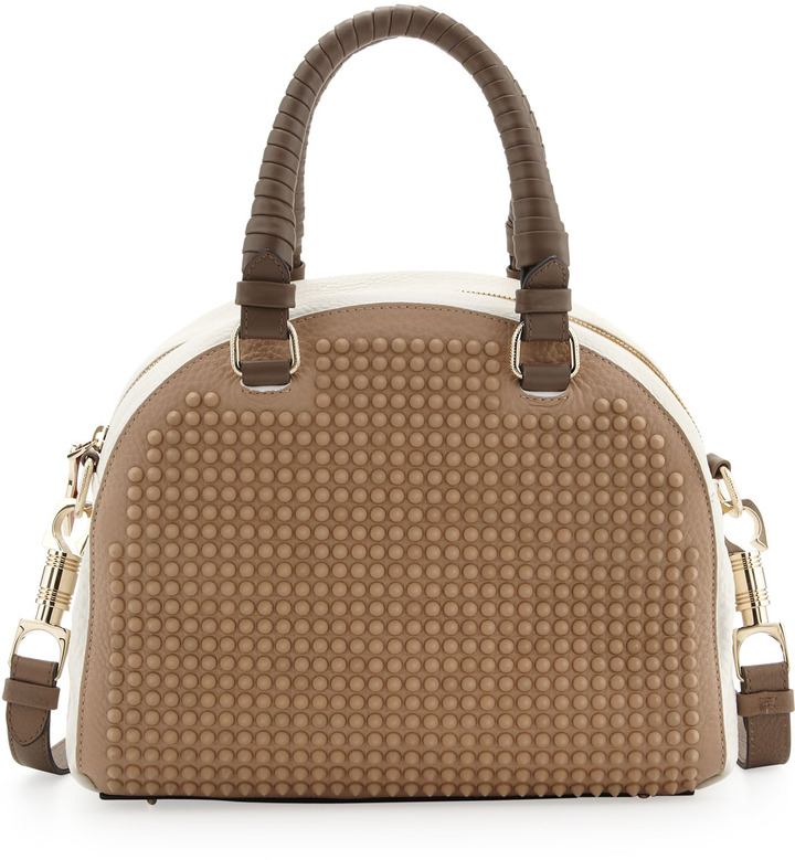 Christian Louboutin Panettone Small Studded Satchel Bag, Brown/White
