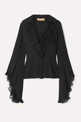 Michael Kors Ruffled Silk-georgette Blouse - Black