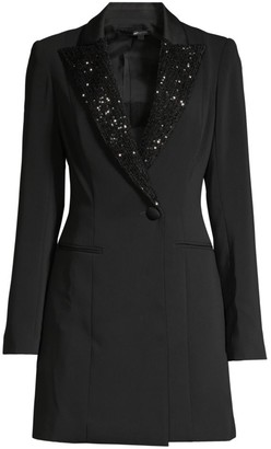 Jay Godfrey Ace Sequin Lapel Tuxedo Dress