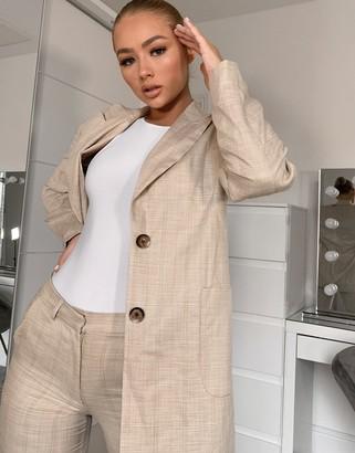 ASOS DESIGN long line 70s suit blazer in camel check