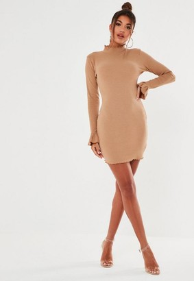 Missguided Toffee High Neck Rib Mini Dress