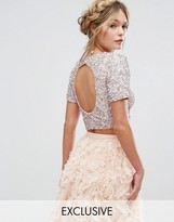 Lace And Beads Lace & Beads Cropped Top With Embellishment And Open Back Co-Ord