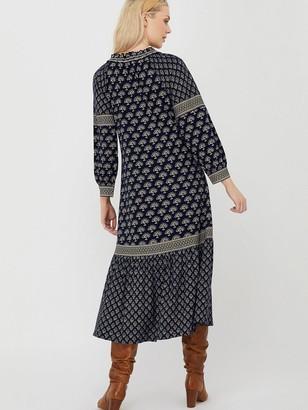 Monsoon Heshna Print Midi Dress - Navy
