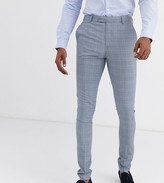 Asos Design DESIGN Tall super skinny suit pants in dusky blue puppytooth check