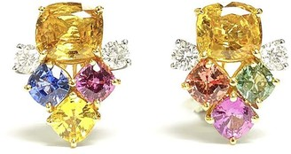 Bayco 18kt Yellow Gold And Platinum Sapphire And Diamond Stud Earrings