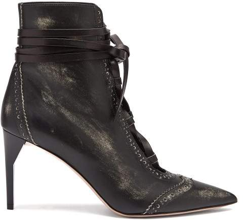 Miu Miu Point Toe Lace Up Leather Ankle Boots - Womens - Black