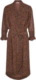 Couture Co' Brown Graphic Detailed Kimono Wrap Dress - xsmall