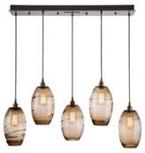 clear Ellisse 5-Light Cluster Bell Pendant Hammerton Studio Finish: Flat Bronze, Shade Color