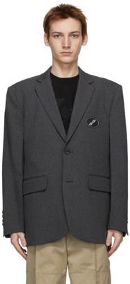 we11done Grey Oversized Logo Blazer
