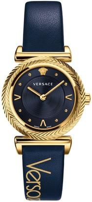Versace Women's V-Motif Leather Strap Watch, 35mm